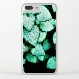 Mint Heart Leaves Clear iPhone Case