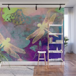 Painting Dragonflies and Orchids A Wall Mural