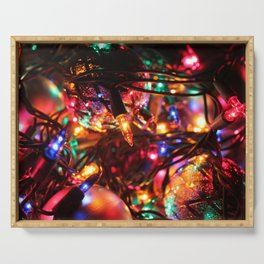 Colored Christmas Lights Serving Tray