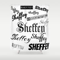 Sheffey Fonts in Black Shower Curtain