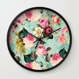 Vintage & Shabby Chic - Summer Teal Roses Flower Garden Wall Clock