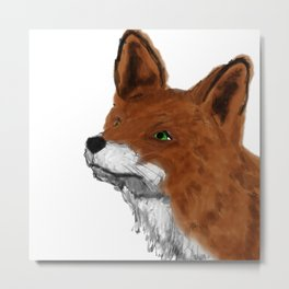 Watercolor animals fox painting Metal Print