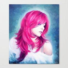 ' Pink Head ' - sensual lady digital oil portrait painting Canvas Print