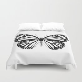 Monarch Butterfly | Vintage Butterfly | Black and White | Duvet Cover