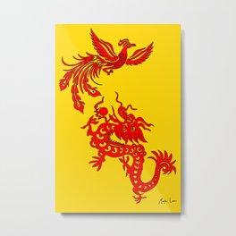 Phoenix Dragon Feng Shui Metal Print