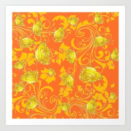 AWESOME CUMIN ORANGE & YELLOW ROSE SCROLLS  ART Art Print