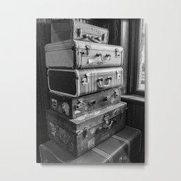 Vintage suitcases in black and white Metal Print
