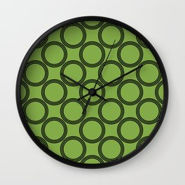 Double Rings pattern Design green Wall Clock