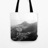 rio de janeiro Tote Bags featuring Rio de Janeiro, Brasil by Angelika Albaladejo