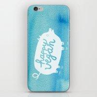 vegan iPhone & iPod Skins featuring Happy Vegan by Anke Weckmann