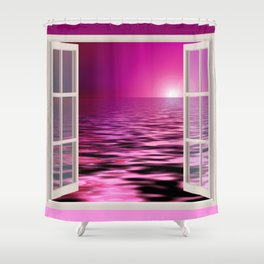 Pink & Purple Sunset thru a Window Shower Curtain