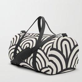 black & white geometric pattern mid century modern fish scales art deco pattern Duffle Bag