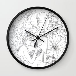 Open: Frida at her Easel Wall Clock