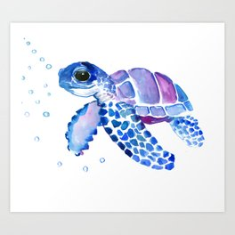 Blue Purple Sea Turtle, Turtle for nursery Art Print