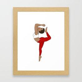 Stretch to higher self Red Kemetic Yoga Framed Art Print