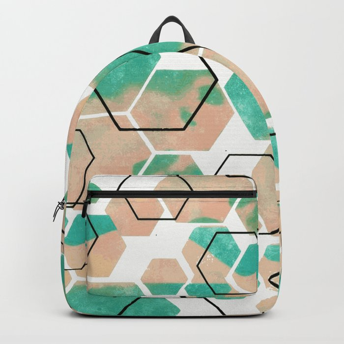 Mint ice cube geometric abstract pattern Backpack