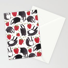 Badgers and Strawberries Stationery Cards