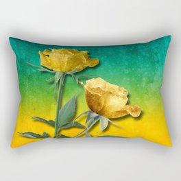 Gold Roses & Vibrant Watercolor Rectangular Pillow