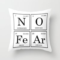 periodic table Throw Pillows featuring No Fear Elements Periodic Table by raineon