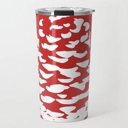 Pinecone Red and White Travel Mug