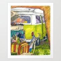 volkswagon Art Prints featuring VW Bus Campsite by Barb Laskey Studio