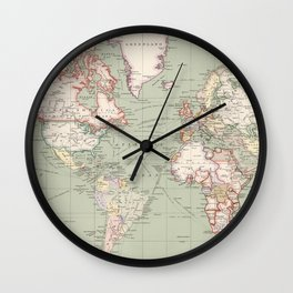 Vintage Map of The World (1915) Wall Clock