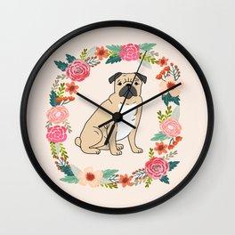 pug floral wreath dog breed pet portrait dog mom Wall Clock
