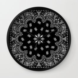 black and white bandana pattern Wall Clock