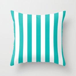 Vertical Stripes (Eggshell Blue/White) Throw Pillow