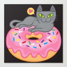 My cat loves donuts 2 Canvas Print