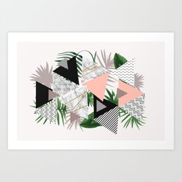 Abstract of geometric patterns with plants and marble Art Print