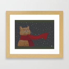 Knitted Wintercat Framed Art Print