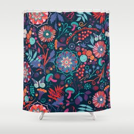 Ripe autumn – cyan and red Shower Curtain
