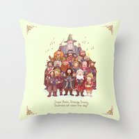 middle earth Throw Pillows featuring The loudest carollers in Middle Earth by Alicia MB