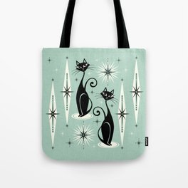 Mid Century Meow Retro Atomic Cats Mint Tote Bag