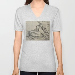 Elwood on the sofa Unisex V-Neck