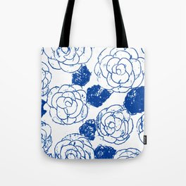 Blue blockprint roses Tote Bag