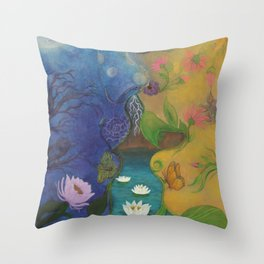 Lovers-Day and Night Throw Pillow
