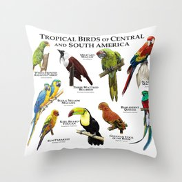 Tropical Birds of South and Central America Throw Pillow