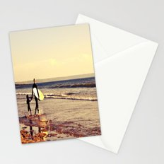 Father and son surfing colour Stationery Cards