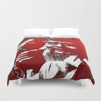 shih tzu Duvet Covers featuring Lao Tzu by Kip Sikora