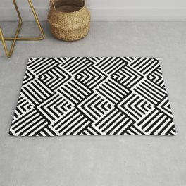 Beautiful pattern with striped lines. Black and white op art. Rug