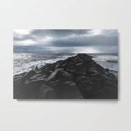 Rocky Pier in Vík, Iceland Metal Print