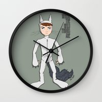wild things Wall Clocks featuring Wild Things by Kenneth Shinabery