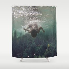 the level inside will rise Shower Curtain
