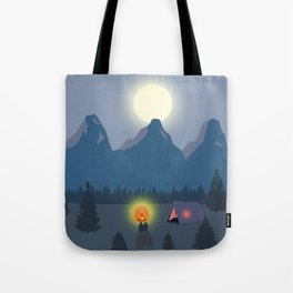 Bonfire camping in the mountains Tote Bag