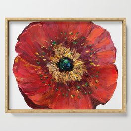 Red Poppy Serving Tray