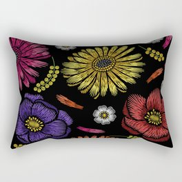 Embroidered Flowers on Black Pattern 03 Rectangular Pillow