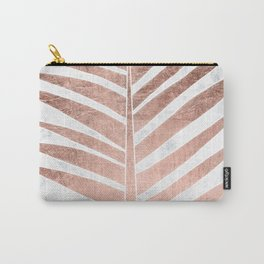 Modern faux rose gold tropical palm tree leaf white marble Carry-All Pouch