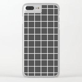 Minimalism Window Pane Grid, White on Charcoal Clear iPhone Case
